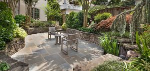 flagstone patio and stacked stone retaining walls