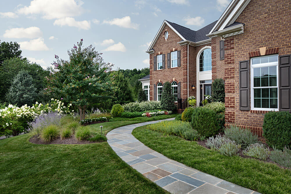 front yard walkway and landscaping