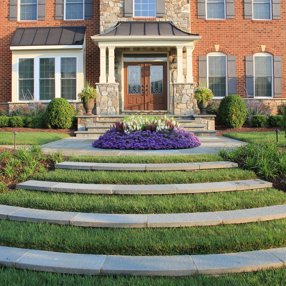 grass steps at entry