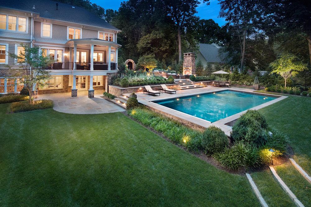 lawn care pattern around pool deck