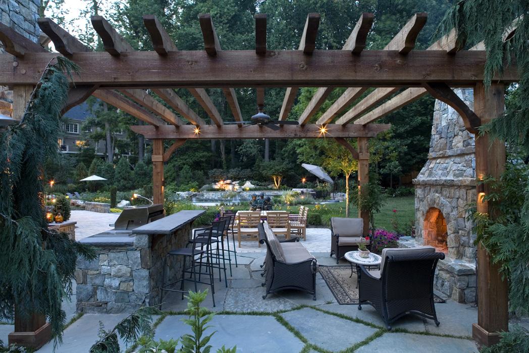 outdoor kitchen under pergola in great falls va