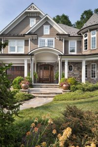 softly layered front yard landscaping