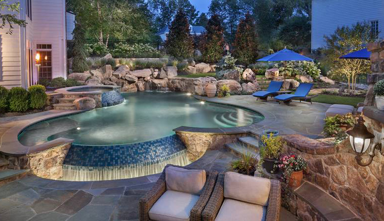 04 underwater lighting pool and waterfall