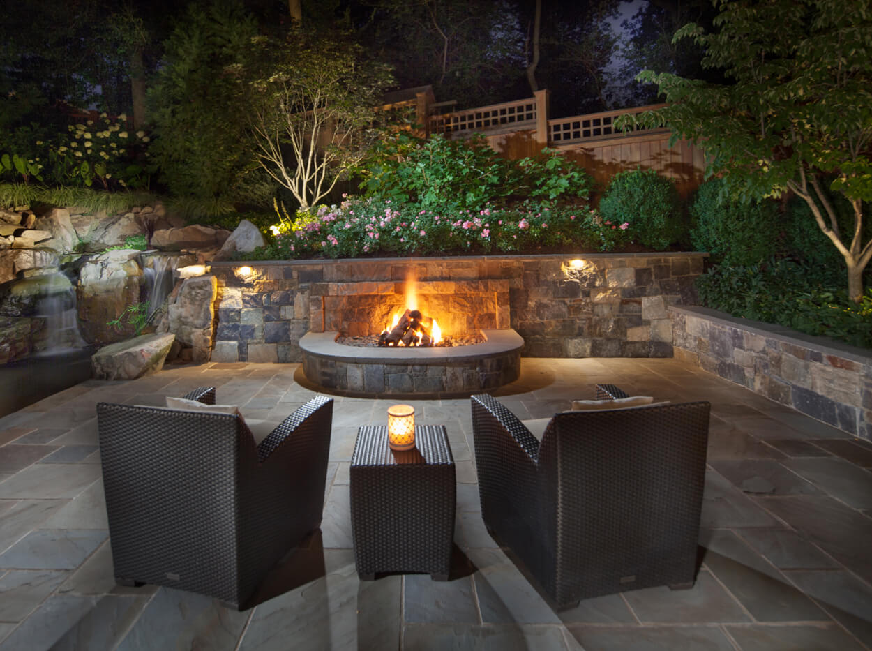 patio fire pit in Bethesda backyard