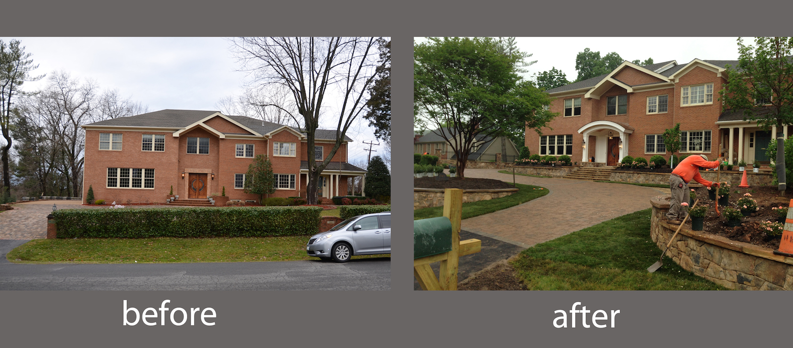 before & after front yard landscape design cleaned viriginia