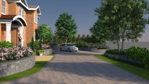 Architect's 3D rendering front arrival area