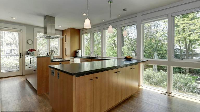 cleveland park kitchen windows frame landscaped yard