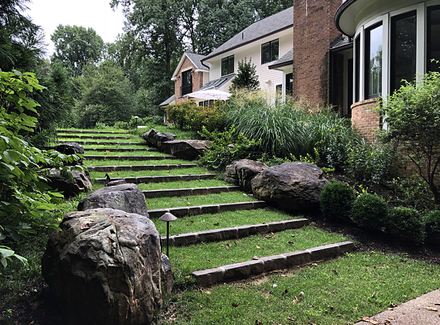 grass steps with border plantings