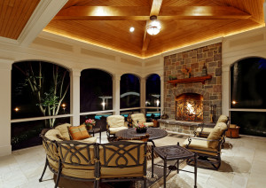 porch design with stone fireplace