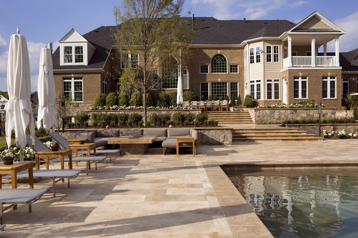 modern terraces and travertine pool deck