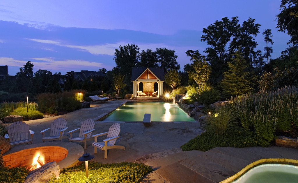 landscape lighting pool house