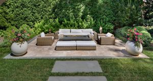 secluded patio with lush privacy plantings