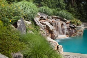 waterfall constructed of boulders and fieldstone