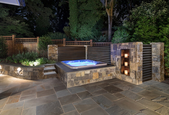 backyard spa patio in Bethesda