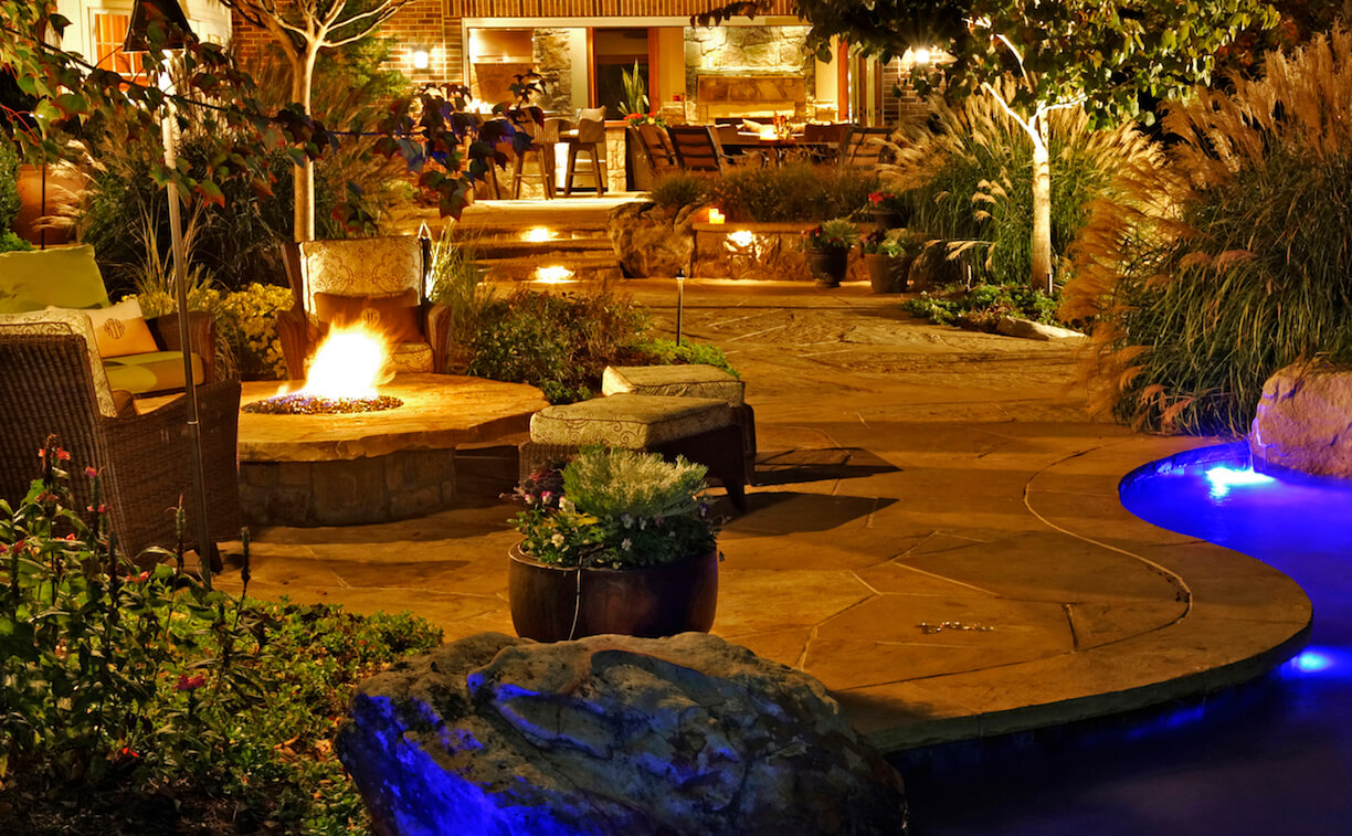 raised round fire pit and spa