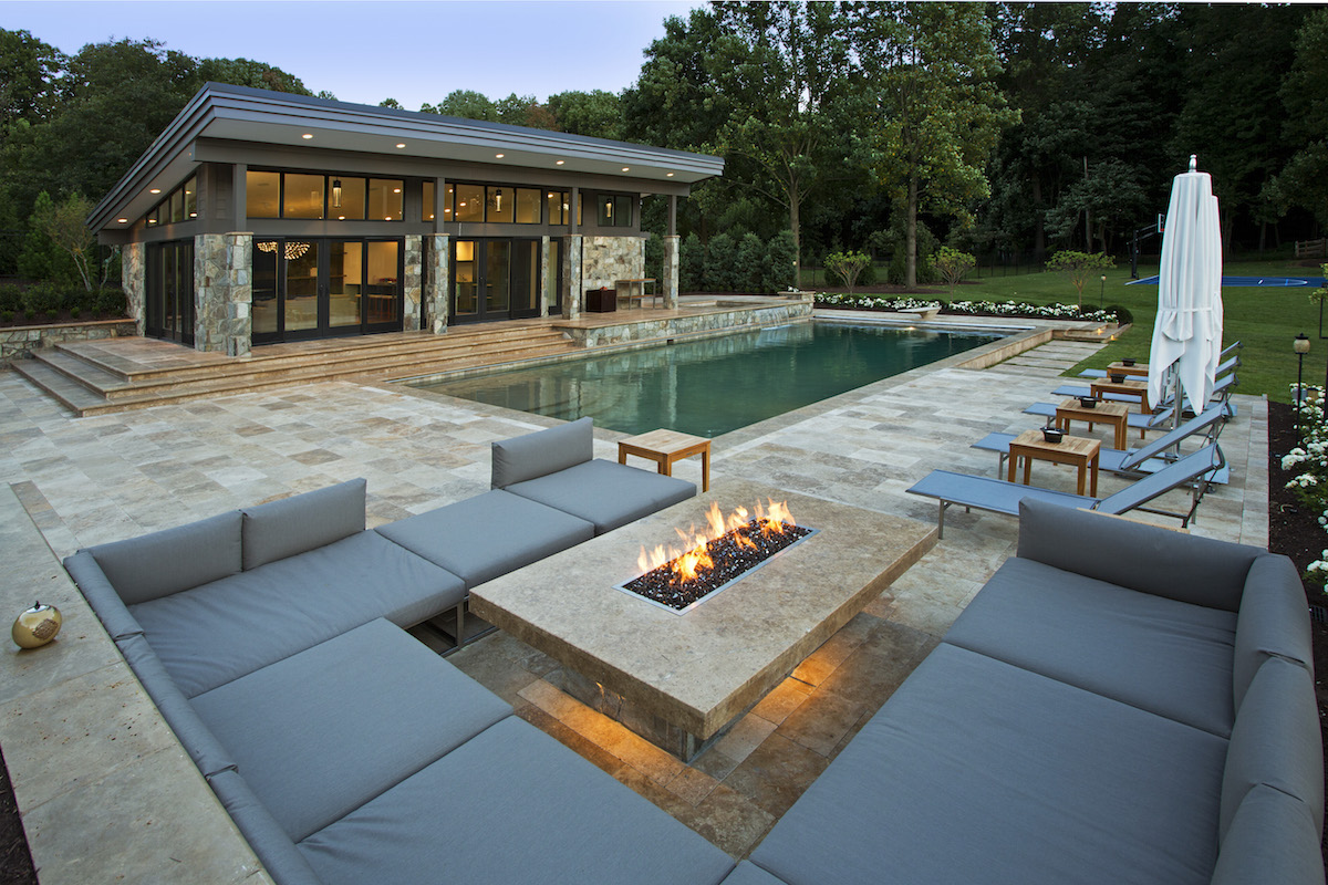 Vienna virginia pool house design surrounds landscape - Modern house with pool ...