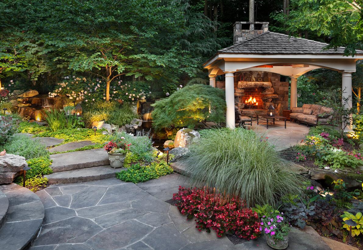 backyard fireplace pavilion