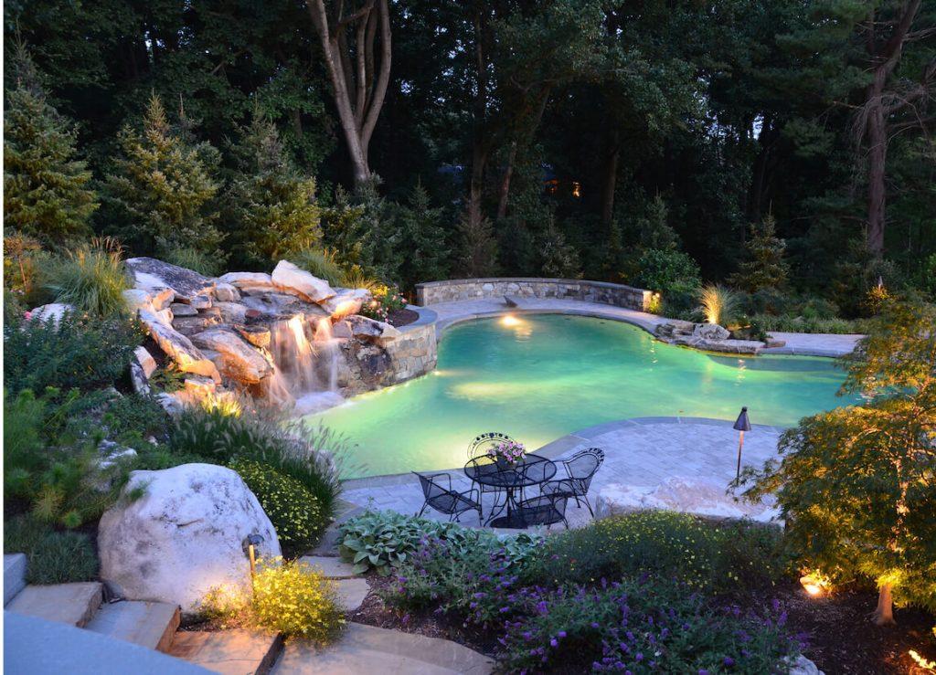 waterfall-drops-into-swimming-pool