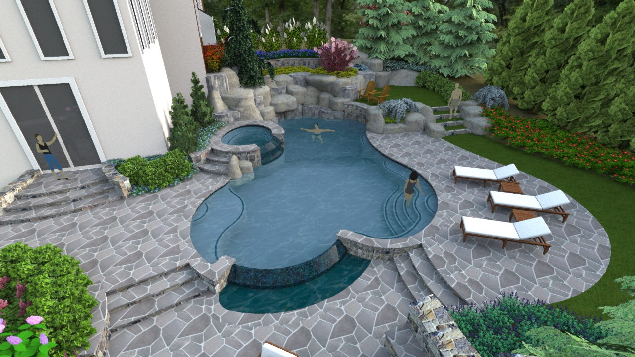 A right sized swimming pool design in herndon virginia for Backyard patio landscaping