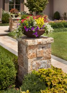 stone pedestal and planting vase