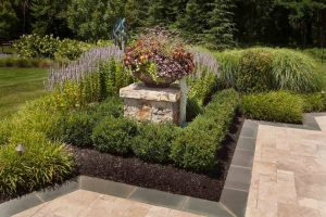 perennials and naturally pruned boxwoods