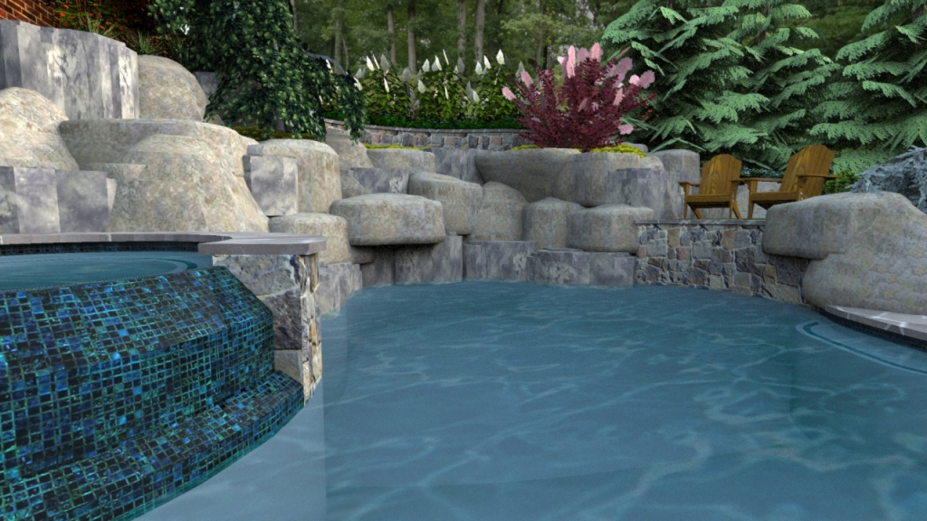 swimming pool interior and perimeter plantings
