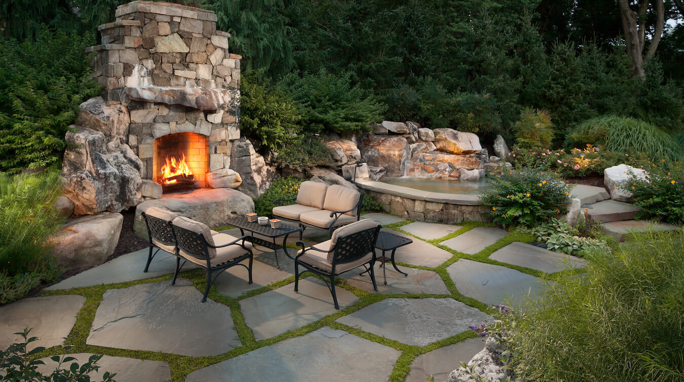 Should you use flagstone or pavers in your backyard patio for Pictures of stone patios