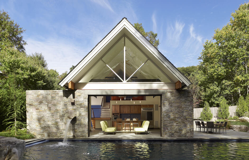 modern pool house and guest quarters
