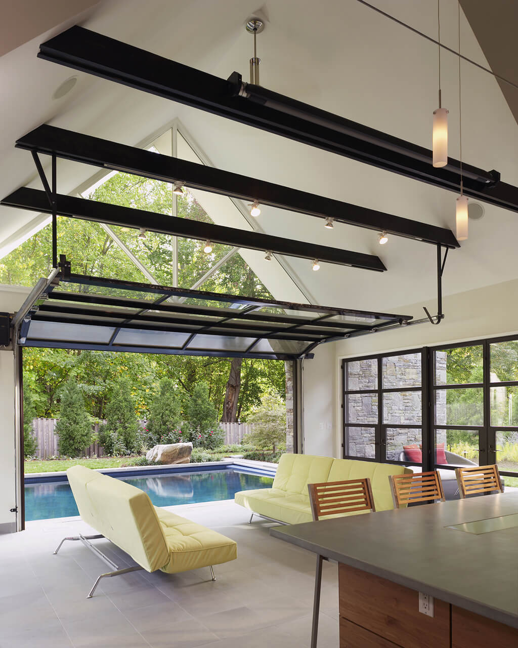 interior of modern pool house