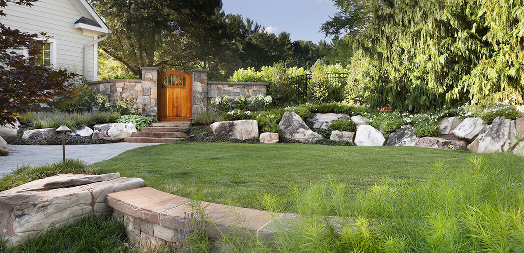 lawn bordered with rock plantings