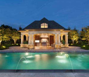 classical style pool house