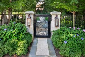 Garden_Gate with boxwood and hydrangea