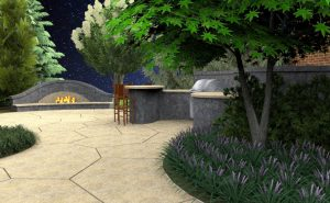 3D rendering of fireplace style outdoor fire pit