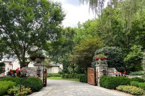 driveway entry gates and border landscaping