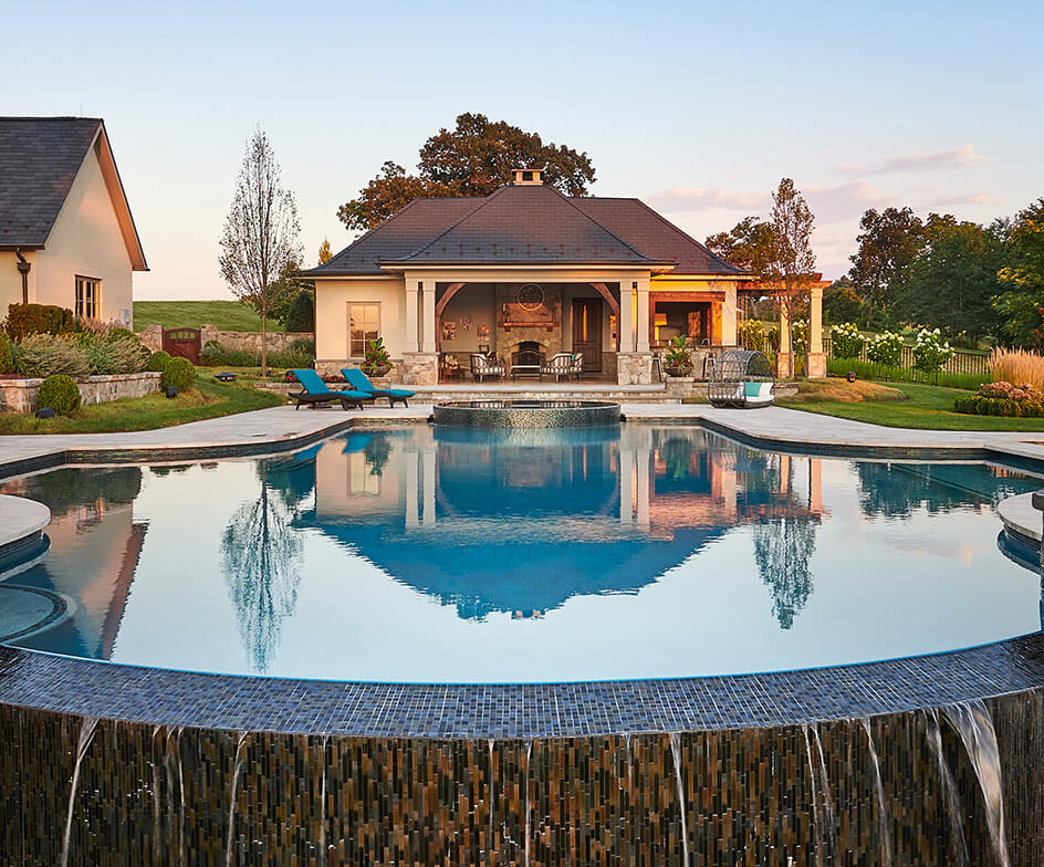 swimming pool environment with pool house