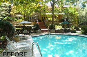 pool deck and coping BEFOER renovation