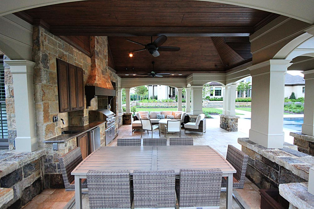 Photo gallery of outdoor kitchens fireplaces fire pits for Poolside kitchen designs