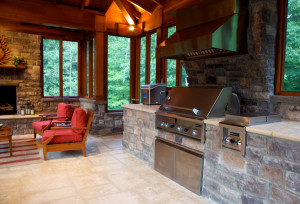outdoor kitchen dining pavilion with fireplace