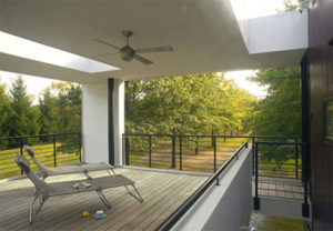 mcinturff home design intersects an allee planted by the landscape architect