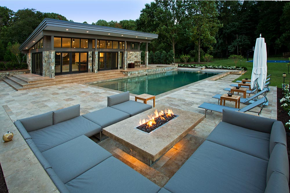 simple front yard landscaping ideas pictures big pots - Travertine Patios and Modern Pool House Vienna VA