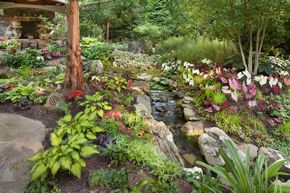 Backyeard garden brook and lush plantings for shade garden