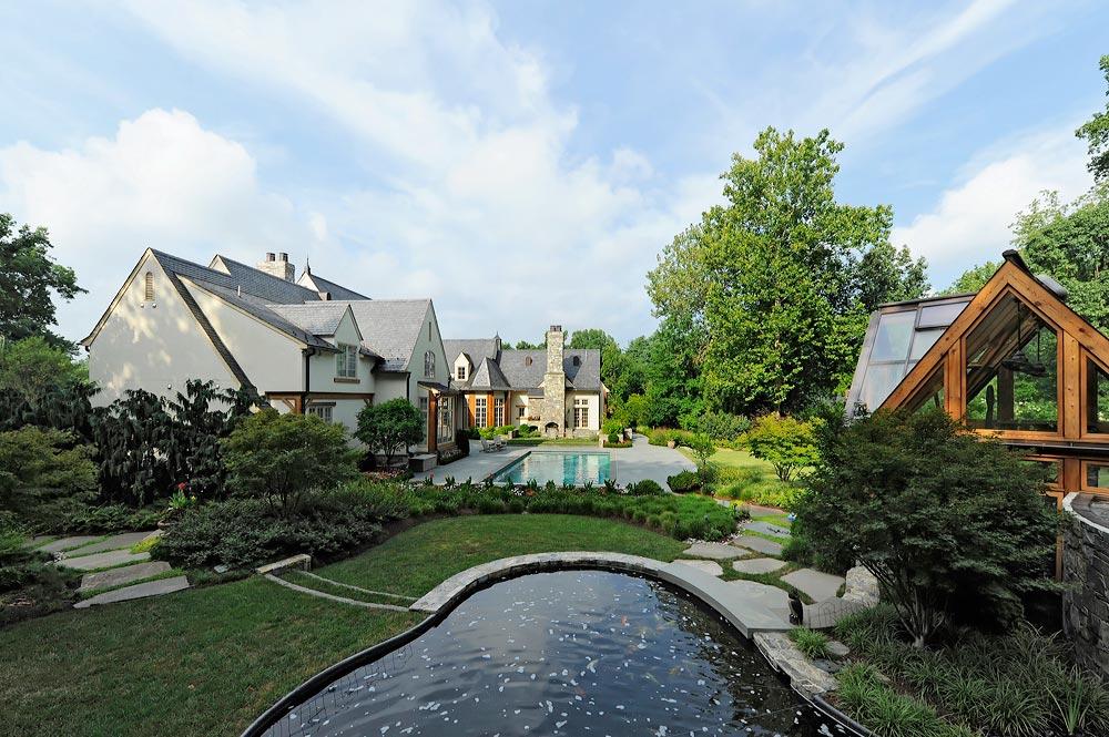 greenhouse pavilion koi pond and stone driveway