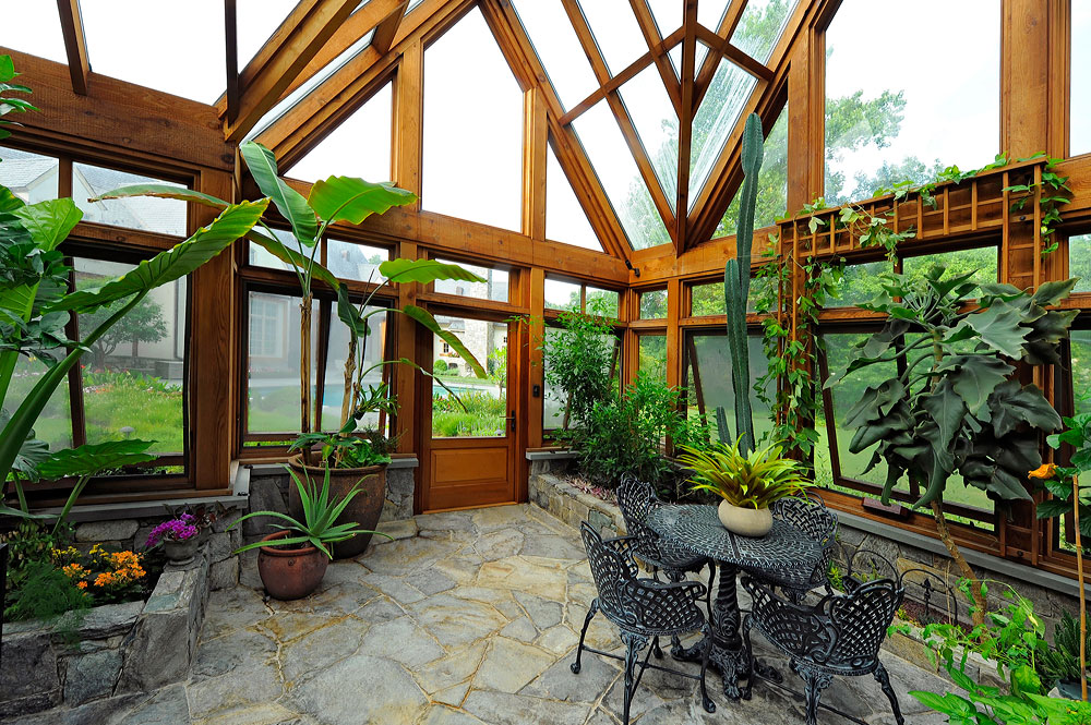 Greenhouse pavilion koi pond and stone driveway for Home garden greenhouse design
