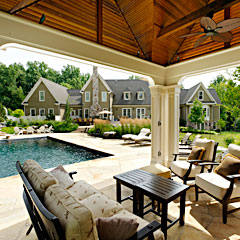 Stone Work, Swimming Pool, Waterfalls, Cabana & Fire Pit