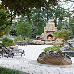 Rustic Landscape, Flagstone Patios and Pool House