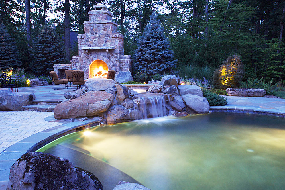 Rustic landscape flagstone patios and pool house for Pool design virginia