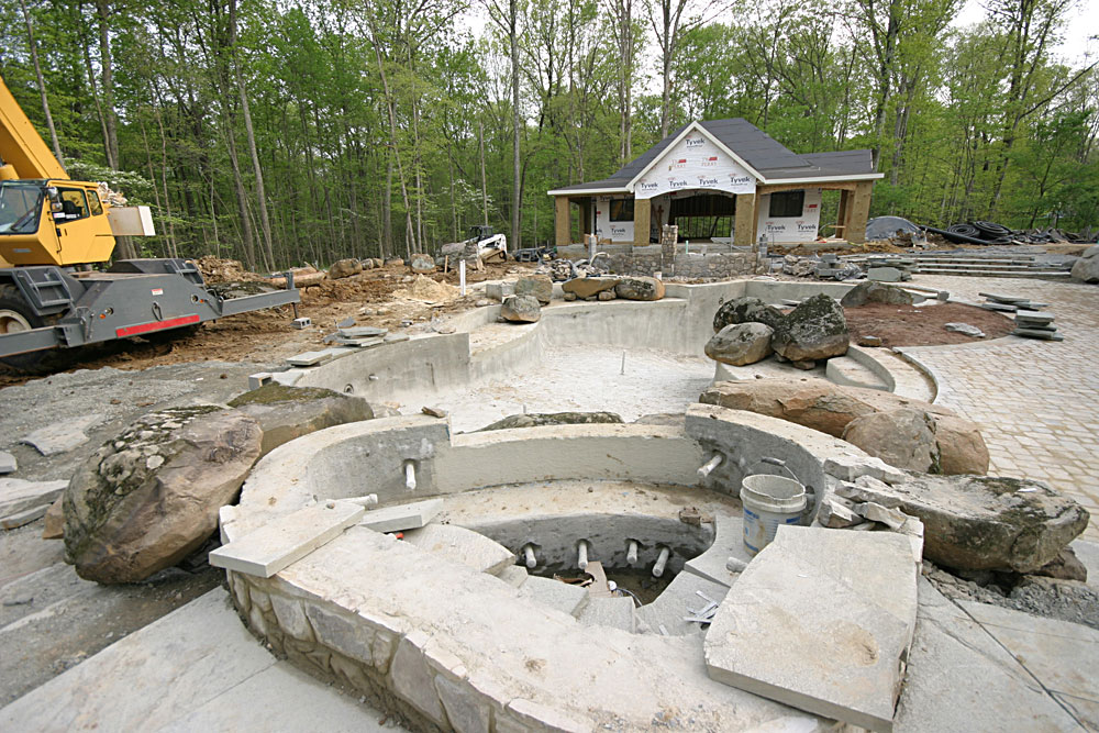 Rustic Landscape Flagstone Patios And Pool House
