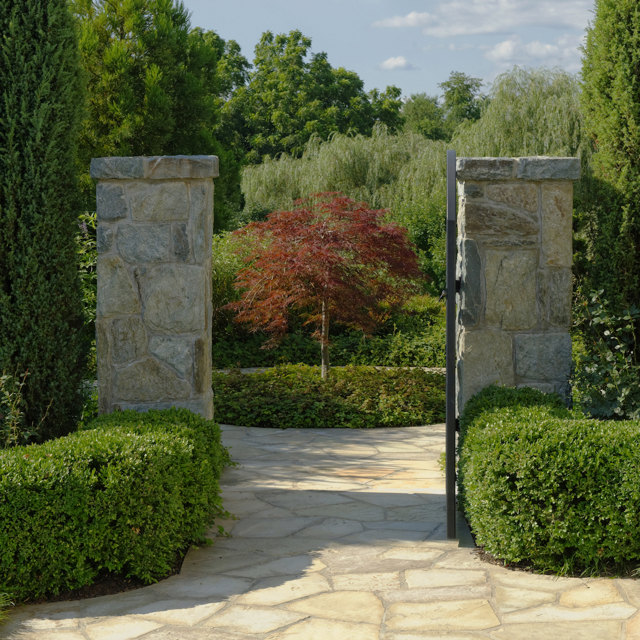 FORMAL STYLE MAINTENANCE OF FLAGSTONE WALKWAY AND STONE GATE