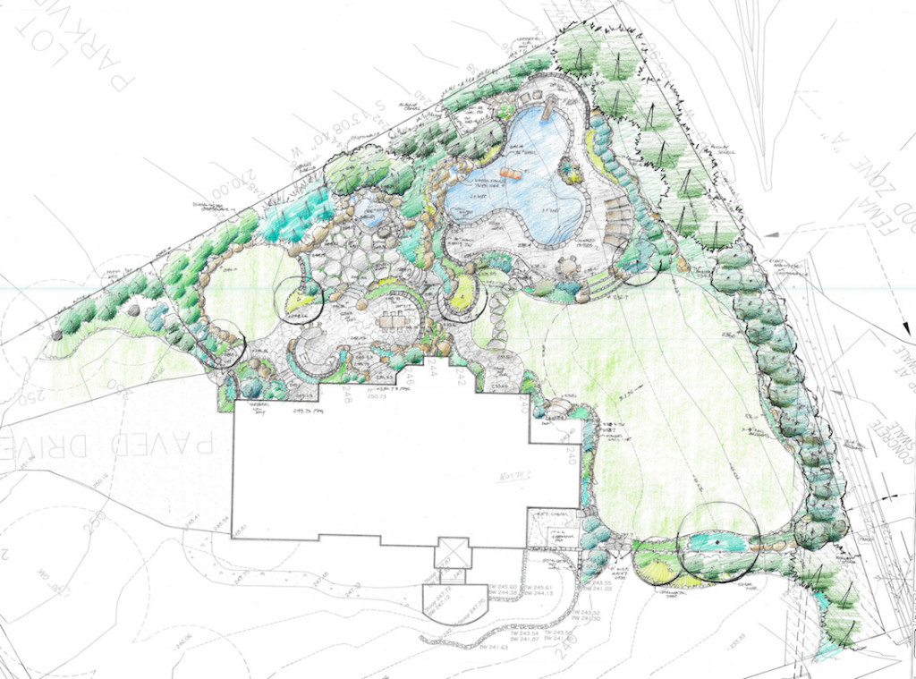 site plan for Great Falls landscape design