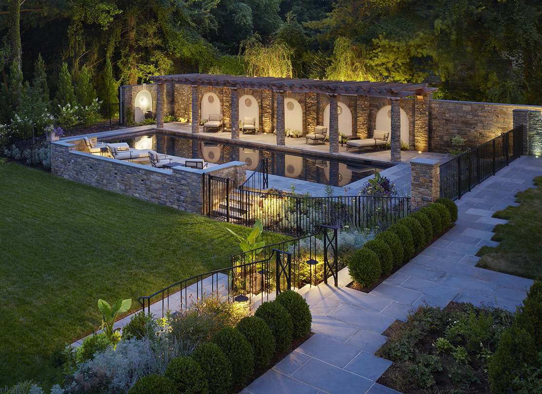 garden pool spa and loggia design by Graham Landscape Architects